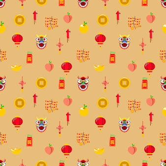 Vector seamless pattern of chinese new year graphic element