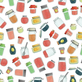 Vector seamless pattern of colored jam jars. colorful vintage pattern with watercolor effect.