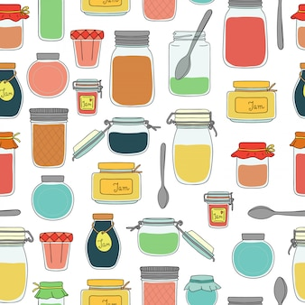Vector seamless pattern of colored jam jars. colorful vintage pattern