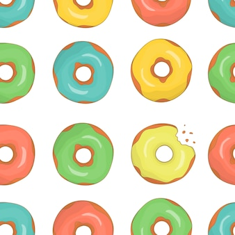 Vector seamless pattern of colorful doughnuts.