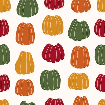 Vector seamless pattern of colorful pumpkins