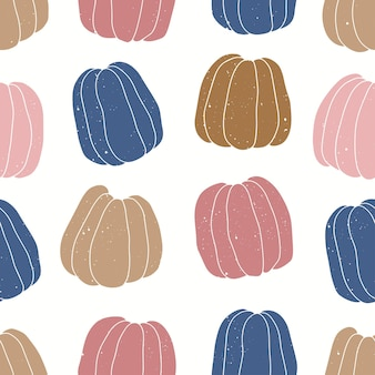 Vector seamless pattern of colorful pumpkins.