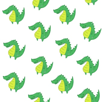 Vector seamless pattern. crocodile. cartoon style