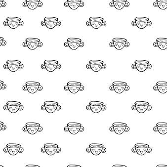 お茶とコーヒーのベクトルシームレスパターンカップ落書きオブジェクトが切り取られます背景装飾