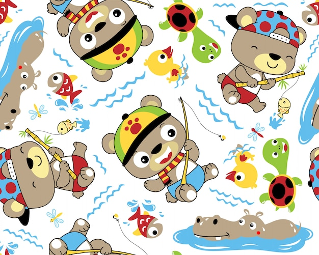 Vector seamless pattern of cute fishing  animals cartoon