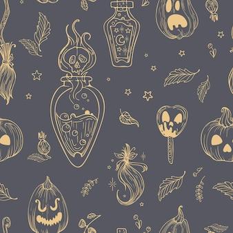 벡터 원활한 패턴 귀여운 그림 그래픽은 할로윈을 위한 빈티지 스타일을 그립니다. 호박 잭 랜턴. 마법의 버섯, 마녀의 물약, 머리카락 다발. 벽지용, 천에 인쇄, 포장용.