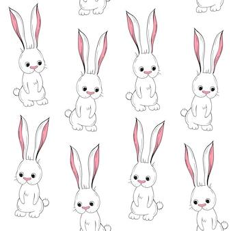 ベクトルシームレスパターンかわいいウサギ。スカンジナビアの動機。漫画の背景。 Premiumベクター