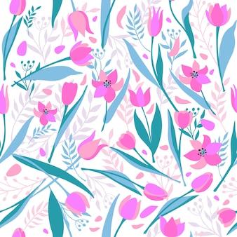 Vector seamless pattern of cute stylish tulips.