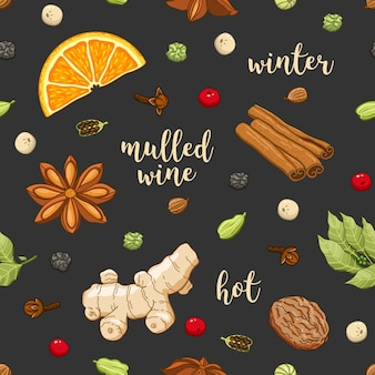 Vector seamless pattern on dark with mulled wine