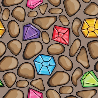 Vector seamless pattern of diamonds in different colors and  rock stones