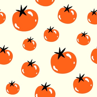 Vector seamless pattern in doodle style. tomatoes.