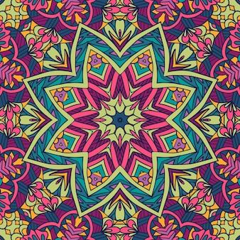 ベクトルシームレスパターン民族自由奔放に生きるアート曼荼羅。カラフルな飾りの落書きデザイン。