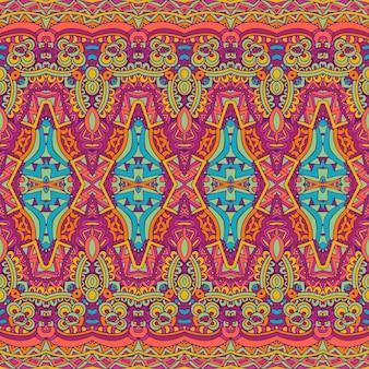 Бесшовный узор вектор этнических племен геометрический психоделический красочный принт
