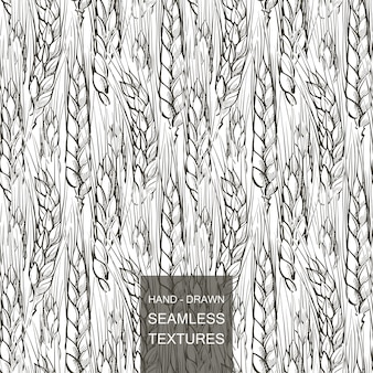 Vector seamless pattern field of wheat. hand drawn engraving illustration of countryside