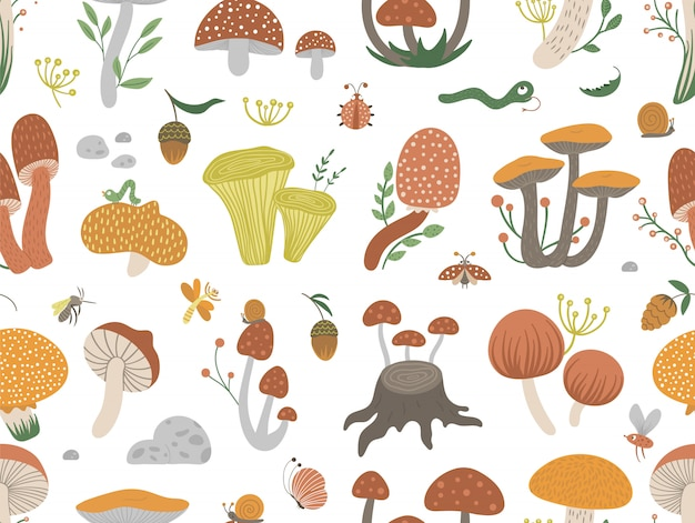 Vector seamless pattern of flat funny mushrooms with berries, leaves and insects. autumn repeat space. cute fungi texture with acorns and cones