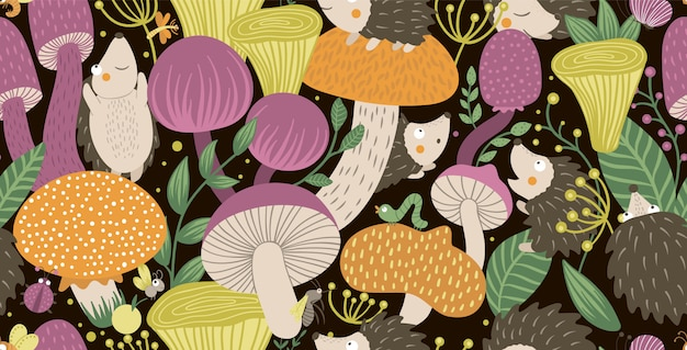 Vector seamless pattern of flat funny mushrooms with hedgehogs, berries, and insects. autumn repeating space. cute fungi illustration on black backdrop