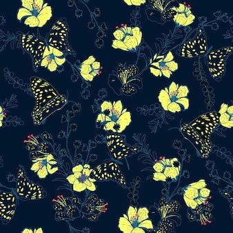 벡터 원활한 패턴 꽃과 나비 벡터