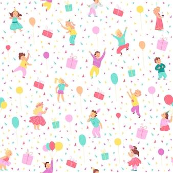 Бесшовный узор вектор для вечеринки по случаю дня рождения детей. плоский стиль рисованной. счастливые детские персонажи, воздушные шары, подарочные коробки, конфетти, изолированные на белом фоне. подходит для открыток, упаковки, баннеров, печати