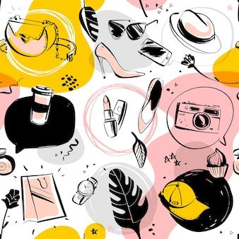 女性のアクセサリー、孤立した落書き要素-靴、帽子、口紅、サングラス、テキストボックス、モンステラとファッションやショッピングのテーマのシームレスなパターンをベクトルします。パッケージデザイン、広告、タグに最適です。