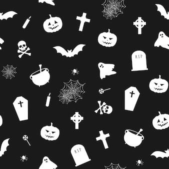 Бесшовный узор вектор для хэллоуина, черно-белый узор с резными тыквами, призраками и летучими мышами