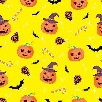 ハロウィーンのシームレスなパターンベクトル。ハロウィーンをテーマにしたカボチャ、ゴースト、コウモリ、キャンディー、その他のアイテム。ハロウィーンの明るい漫画のパターン