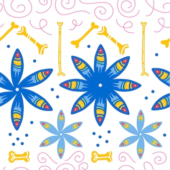멕시코 전통 축하를 위한 벡터 매끄러운 패턴 - dia de los muertos - 흰색 배경에 분리된 파란색 꽃, 뼈, 꽃 장식. 포장 디자인, 인쇄, 장식, 웹에 적합합니다.