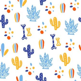 メキシコの伝統的なお祝いのベクトルシームレスパターン-diade los muertos-骨、サボテン、白い背景で隔離の植物。パッケージデザイン、プリント、装飾、バナー、ウェブなどに適しています。