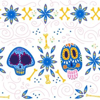 멕시코 전통 축하 행사를 위한 벡터 매끄러운 패턴 - 디아 데 로스 무에르토스 - 화려한 해골, 뼈, 흰색 배경에 격리된 꽃 장식. 포장 디자인, 인쇄, 장식, 웹에 적합
