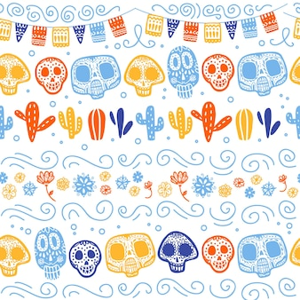 멕시코 전통 축하를 위한 벡터 매끄러운 패턴 - dia de los muertos - 두개골, 화환, 선인장, 흰색 배경에 격리된 꽃 장식. 포장 디자인, 인쇄, 장식, 웹에 적합