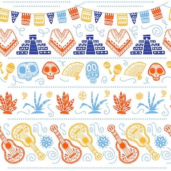 멕시코 전통 축하를 위한 벡터 매끄러운 패턴 - 디아 데 로스 무에르토스 - 두개골, 마야 피라미드, 선인장, 흰색 배경에 격리된 기타. 포장 디자인, 인쇄, 장식, 웹에 적합합니다.