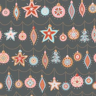 Бесшовный узор вектор на новый год и рождество. симпатичные рисованные иллюстрации с елочными игрушками.