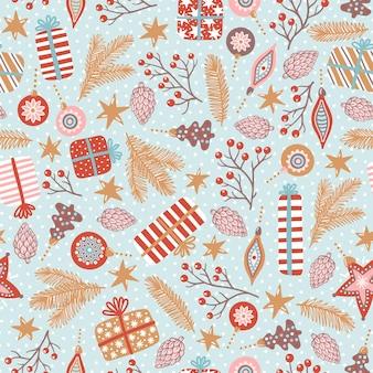 新年とクリスマスのベクトルのシームレスなパターン。ギフト、枝、コーン、多くの装飾的な要素を持つかわいい手描きイラスト。