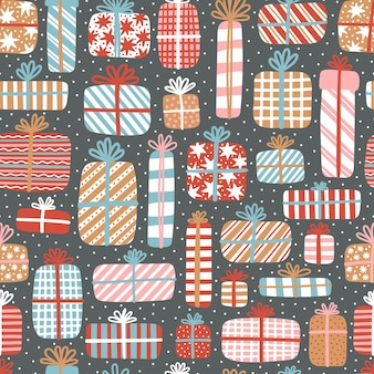 新年とクリスマスのベクトルのシームレスなパターン。暗いbacdroundのギフトとかわいい手描きイラスト。