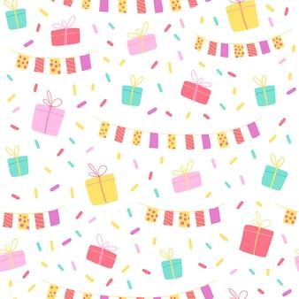 Бесшовный узор вектор для вечеринки или любого праздничного мероприятия. плоский стиль рисованной. красочная гирлянда, подарочная коробка, конфетти на белом фоне. подходит для карт, упаковки подарочной бумаги, баннеров и т. д.