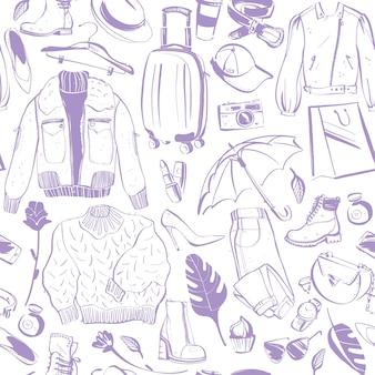 여성 액세서리 의류 절연 신발 재킷 가방 향수 모자 벡터 원활한 패턴