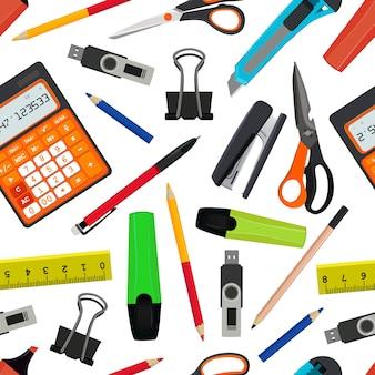 さまざまな学校付属品からシームレスなパターンをベクトル。学校のイラストに戻る。学校パターン背景用アクセサリー