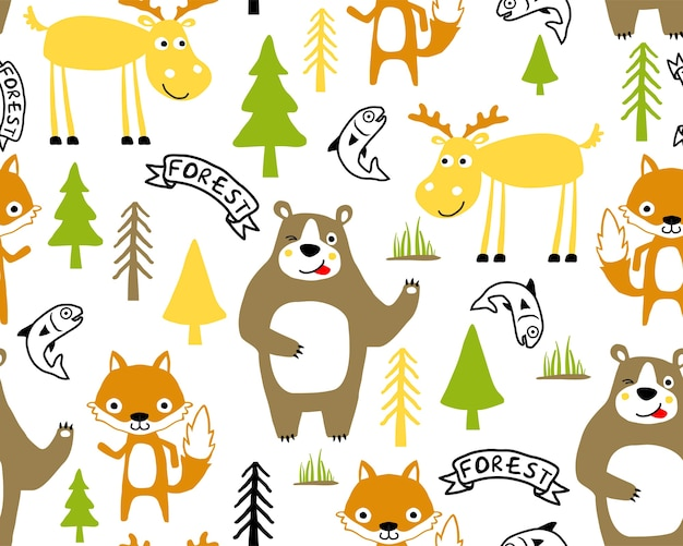 Vector seamless pattern of funny animals