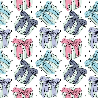 Vector seamless pattern gift boxes with a bow of a ribbon