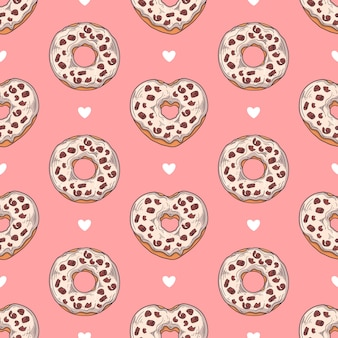 Vector seamless pattern. glazed donuts decorated with toppings, chocolate, nuts.