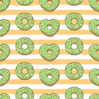 원활한 벡터 패턴입니다. 유약 도넛은 토핑, 초콜릿, 견과류로 장식되어 있습니다.