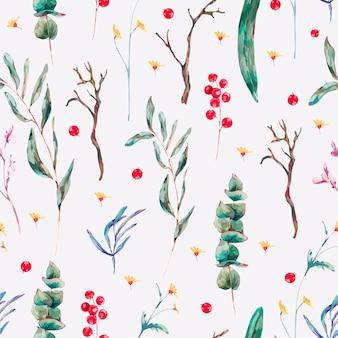 Vector seamless pattern of green tropical leaves, berries