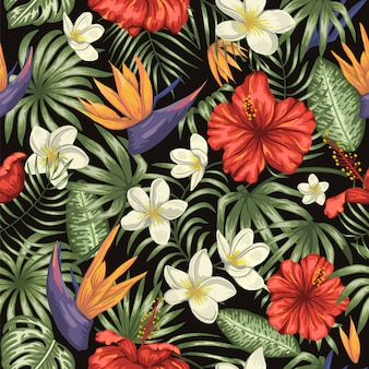 Vector seamless pattern of green tropical leaves with plumeria, strelitzia and hibiscus flowers. summer or spring repeat tropical