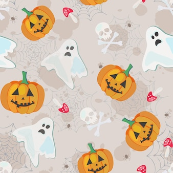 Vector seamless pattern for halloween with all symbols of the holiday