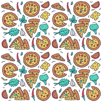 Vector seamless pattern of hand drawn colorful pizza