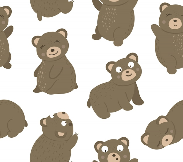 Vector seamless pattern of hand drawn flat funny bears in different poses. cute repeat space with woodland animals
