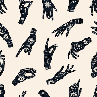 Vector seamless pattern of hands with signs magic eyes, constellations,  sun, phases of moon and stars.