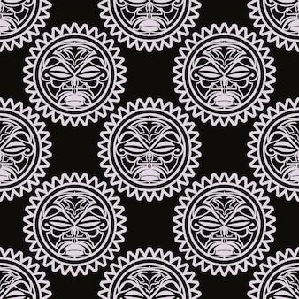 ベクトルのシームレスなパターンハワイアンティキマスク。偶像の頭、マヤの古風な文化、伝統的な先住民のシンボル、古代のマオリの神々。