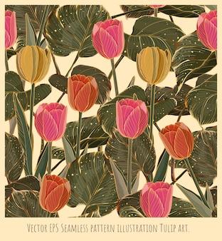 Вектор безшовная картина иллюстрации искусство тюльпанов цветов с золотой линией.