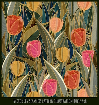Vector seamless pattern illustration art of tulip flowers with golden line.