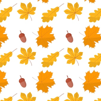 Vector seamless pattern of illustrations of leaves and acorns